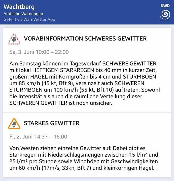 Vorab-Warnung vor schweren Unwet